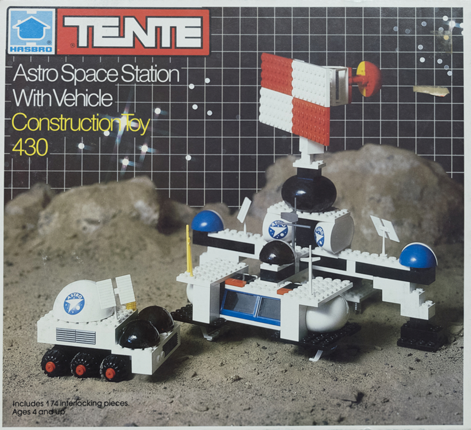 <p><strong>Figure 1.5</strong> Artwork that appeared on the Astro Space Station With Vehicle packaging provides a good view of the toys and logo application.</p>