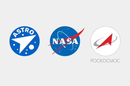 <p><strong>Figure 1.2</strong> From left to right: the Tente Astro logo, the NASA logo, and the current Roscosmos logo.</p>