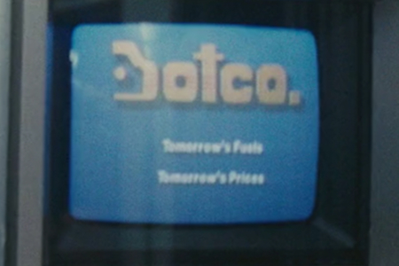 "<p><strong>Figure 1.1</strong> The Botco logotype appears once in the film, in a commercial played on monitors aboard the Metro transport. Below the logotype, their slogan reads: ""Tomorrow's Fuels. Tomorrow's Prices.""</p>"