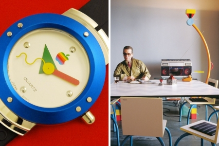 <p><strong>Figure 2.4</strong> Examples of Memphis design — a special edition Apple watch designed in the early 90s (left) and the 1981 Treetops lamp by Sottsass seen in a photo with Karl Lagerfeld, who collected Memphis pieces (right). Sources: <em>Pinterest, </em><em>Memphis-Milano.org Flickr</em></p>