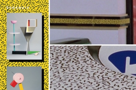 <p><strong>Figure 2.5</strong> The Memphis squiggle pattern (left) makes an appearance in the Formica we see in Cafe 80s, on its wainscoting rail along the walls (top right) and on its countertops (bottom right).</p>