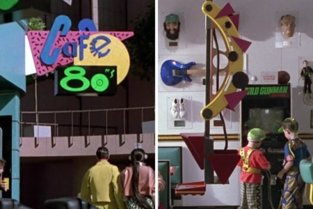 <p><strong>Figure 2.3</strong> The Cafe 80s logo on signage (left) and the robotic waiter (right), which has the pink triangle from the logo repeated in its design</p>