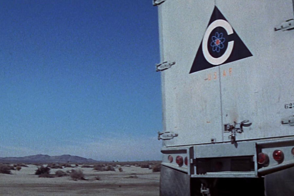 <p><strong>Figure 4.14</strong> On the back doors of a semi-trailer, used at an ICBM launch silo where warheads are being reconfigured on the order of Colossus.</p>