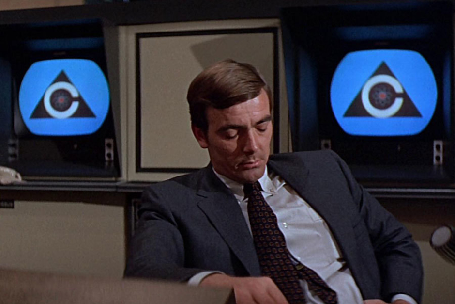 <p><strong>Figure 4.19</strong> On screens in the Colossus Programming Office, where Forbin also isn't feeling so good about that decision to give nukes to an artificial intelligence.</p>