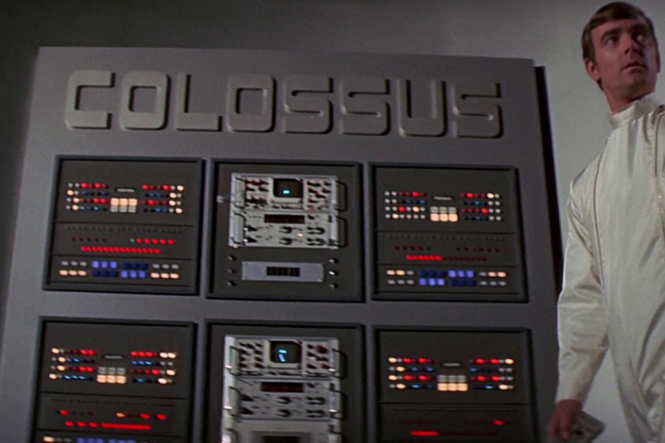 <p><strong>Figure 6.1</strong> The Colossus logotype, seen above a control panel in the beginning of the film.</p>