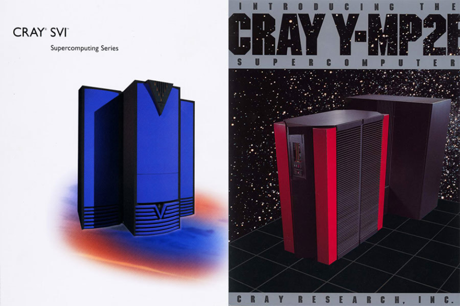 <p><strong>Figure 10.6</strong> Brochure covers for Cray SV1 and Y-MP2E. Source: Cray FAQ</p>