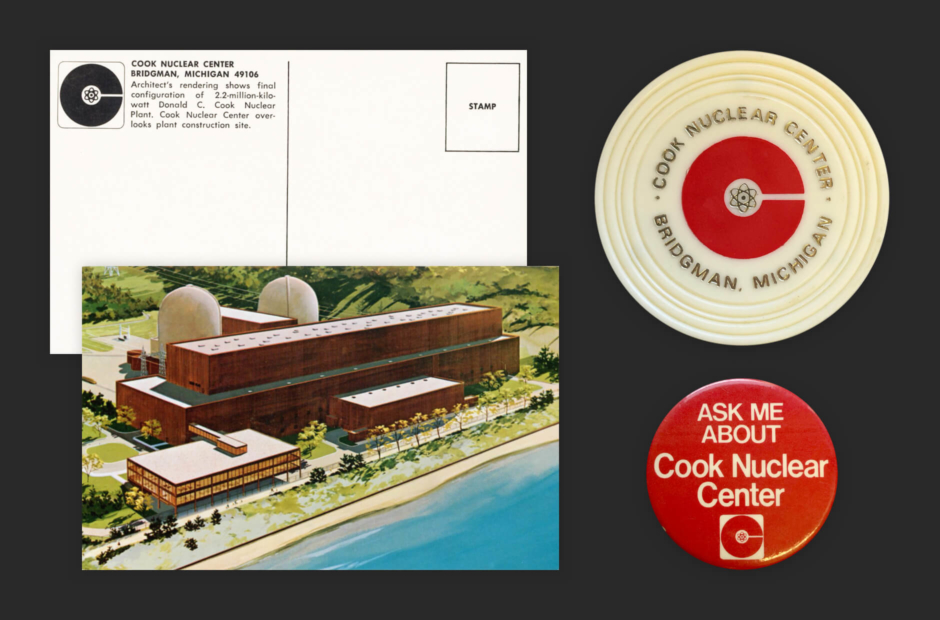 <p><strong>Figure 3.7</strong> Left: Cook Nuclear logo as it appeared on a postcard, featuring an illustration of the plant and visitor's center. Right: Promotional drink coaster and pinback button featuring the Cook Nuclear logo in red. Source: Roger Strunk</p>