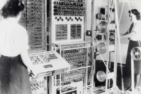 "<p><strong>Figure 2.2</strong> Colossus Mark 2 computer being operated by ""Wrens"" Dorothy Du Boisson (left) and Elsie Booker (right). Source: Wikipedia</p>"