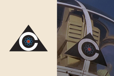 <p><strong>Figure 3.1</strong> Detail views of the Colossus logo. Left: Vector approximation of the design. Right: Original design seen on a helicopter, from an early scene following the activation of Colossus.</p>