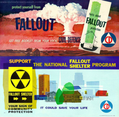 <p><strong>Figure 3.4 </strong>The identifying marks for Civil Defense and Fallout Shelters, as seen on these posters, are familiar to those who lived through the Cold War era. Both relate to atomic warfare and feature the triangle shape in their designs. Source: Civil Defense Museum www.civildefensemuseum.com</p>