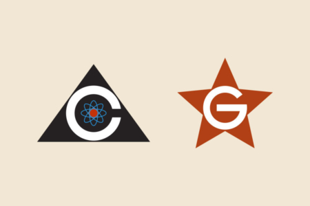 <p><strong>Figure 5.2</strong> The Colossus logo next to the logo for Guardian, which consists of a white capital G tightly framed by a Communist red star.</p>