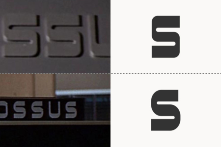 <p><strong>Figure 7.2</strong> A difference in the sizes of corner radius is evident, when comparing the Colossus logotype from the opening scene (top) and its variant that sits atop Colossus computer terminals (bottom).</p>