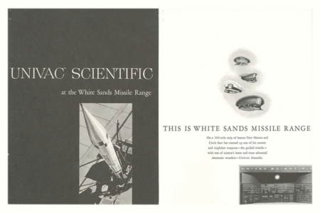 <p><strong>Figure 8.1</strong> Cover and page from the UNIVAC Scientific at the White Sands Missile Range brochure (1953). Source: Computer History Museum</p>