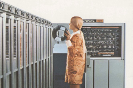 <p><strong>Figure 8.2</strong> Image from UNIVAC 1108-II brochure, The Big System With the Big Reputation (1965). Source: Computer History Museum</p>