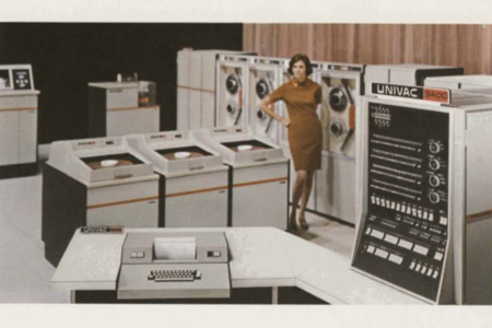 <p><strong>Figure 8.3</strong> Image from UNIVAC 9400 System brochure (1969). Source: Computer History Museum</p>