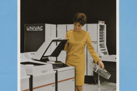 <p><strong>Figure 8.4</strong> Image from UNIVAC 9400 System brochure (1969), with UNIVAC logotype prominently displayed. Source: Computer History Museum</p>
