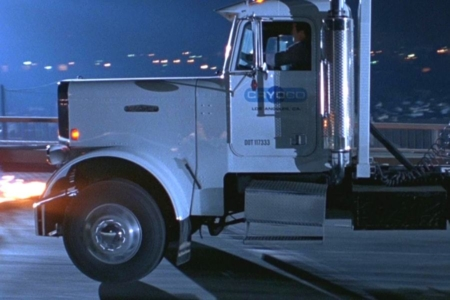 <p><strong>Figure 1.1</strong> The Cryoco truck slams on its brakes to avoid crashing into the burning helicopter wreckage, from which the T-1000 emerges.</p>
