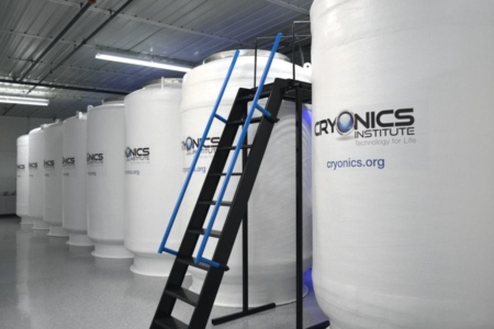 <p><strong>Figure 1.3</strong> A look inside the Cryonics Institute — one of a number of companies in the business of preserving dead humans in liquid nitrogen, for a possible restoration of life in the future. Source: Cryonics Institute</p>