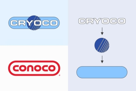 <p><strong>Figure 3.1</strong> The Cryoco logo is comprised of three basic elements that are stacked. The name and logo take inspiration from the real-world Conoco.</p>