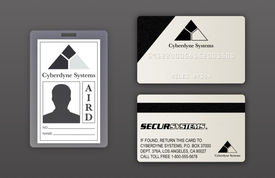 <p><strong>Figure 6.1</strong> Approximations of the Cyberdyne Systems employee badge and security card. The badge is reconstructed from what is seen on screen, minus the photo, employee number and signature of Miles Dyson. The front and back of the security card are accurate reconstructions, as they were recreated based on photos of the screen used prop, which was auctioned online.</p>