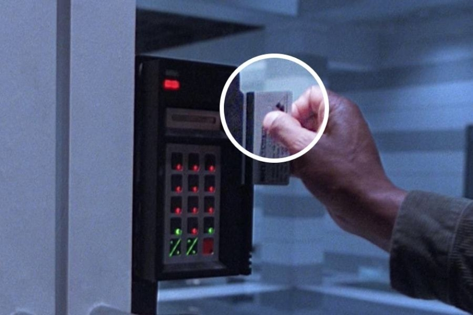 <p><strong>Figure 6.3</strong> There are a number of instances where Miles Dyson swipes his security card to gain access to the lab, and the logo is visible on the back.</p>