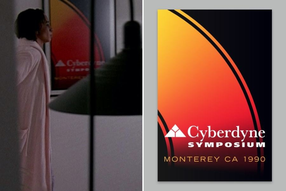 <p><strong>Figure 3.2</strong> Additional scenes from <em>T2</em> show more of Dyson's home life, where we get a more complete look at the Cyberdyne Symposium poster as his wife Tarrisa enters the room where he is working.</p>