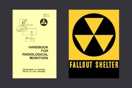 <p><strong>Figure 10.5</strong> Left: The Civil Defense logo on nuclear war preparedness material. Right: The symbol for fallout shelters. </p>
