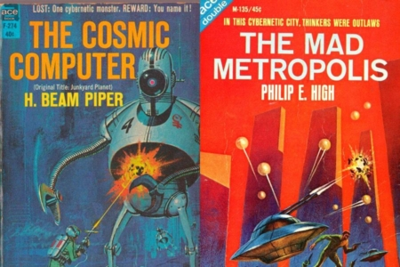 <p><strong>Figure 8.1</strong> Vintage sci-fi took cybernetics and ran with it, crediting it with killer robots and oppressive cities controlled by computers. Source: Covers from <em>The Cosmic Computer</em> (1964) and <em>The Mad Metropolis</em> (1966) </p>