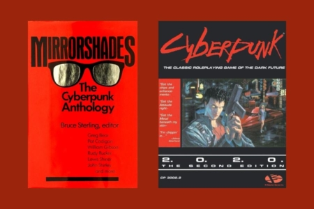 <p><strong>Figure 8.3</strong> The 1980s would see the emergence of the Cyberpunk, as a subgenre of sci-fi. Source: Cover from <em>Mirrorshades</em> (1986) and <em>Cyberpunk</em> RPG (1988)</p>