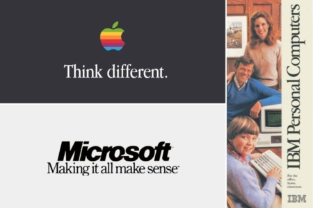 <p><strong>Figure 11.2</strong> In the 80s and early 90s, it was common to see serif fonts used in marketing ads from the computer industry. Source: Google Books</p>