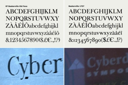 <p><strong>Figure 11.3</strong> The Cyberdyne Systems wordmark is typeset in Baskerville (right), but I've noticed that in at least one place, on exterior signage, Baskerville Old Face was used (left).</p>