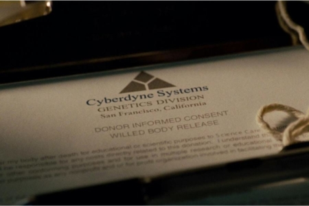 <p><strong>Figure 12.1</strong> The Cyberdyne Systems Genetics Division logo that appeared in <em>Terminator: Salvation</em> on a donor release form.</p>