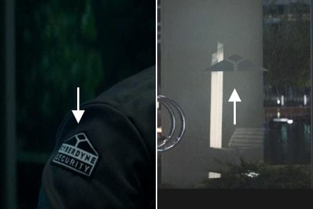 <p><strong>Figure 12.3</strong> In the lobby scene from <em>Terminator: Genisys</em>, we see the Cyberdyne mark on security personnel patches and on the doors.</p>