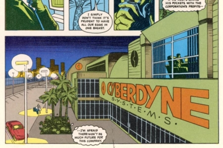 <p><strong>Figure 13.1</strong> The Cyberdyne Systems logo, as it appeared on their headquarters in the first Terminator comics from Dark Horse.</p>