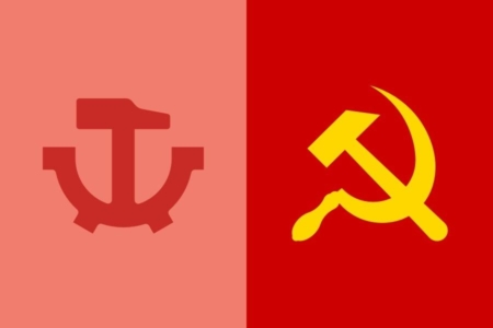 <p><strong>Figure 3.1</strong> The hammer and gear symbol (left) is inspired by the hammer and sickle (right), which is a symbol of communism and socialism.</p>