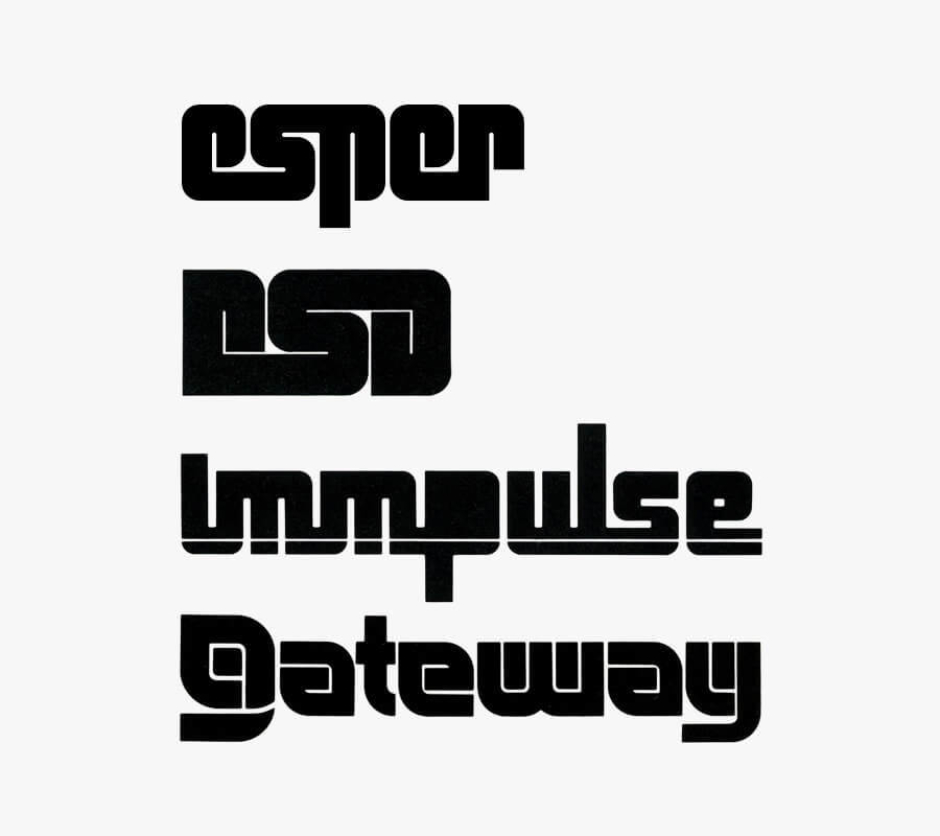 <p><strong>Figure 3.9</strong> The Esper logotype stacked up with real-world computer technology logotypes from the early- to mid-1980s. Source: <em>High Tech Trademarks Vol. 1 and 2</em></p>