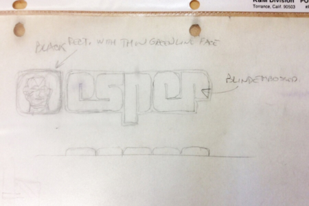 "<p><strong>Figure 3.1</strong> Tom Southwell's original pencil sketch for the Esper logo. It includes notes for the ""greenline face"" and blind embossed logotype, with the arched embossment also drawn below in side profile. Photo by Tom Southwell</p>"