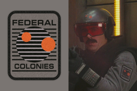 <p><strong>Figure 1.2</strong> Detail views of Federal Colonies logo. Left: Vector approximation of the design. Right: Logo as worn by soldier with mustache.</p>