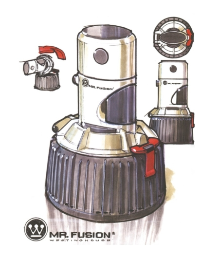 <p><strong>Figure 3.2</strong> Michael Scheffe's original sketches show the Mr. Fusion as a Westinghouse product, which employs the Westinghouse symbol and name in its logo lockup. Source: <em>Back to the Future: The Ultimate Visual History</em></p>