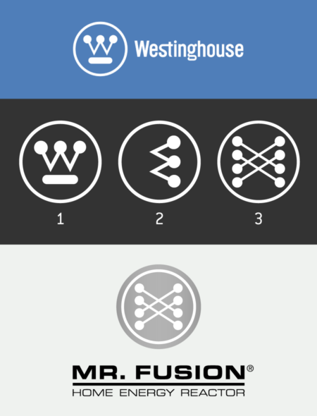 <p><strong>Figure 3.3</strong> Starting from the Westinghouse symbol, all we need to do is remove the underscore element and turn the mark on its side to see how the Fusion symbol can begin to be derived from its basic elements.</p>