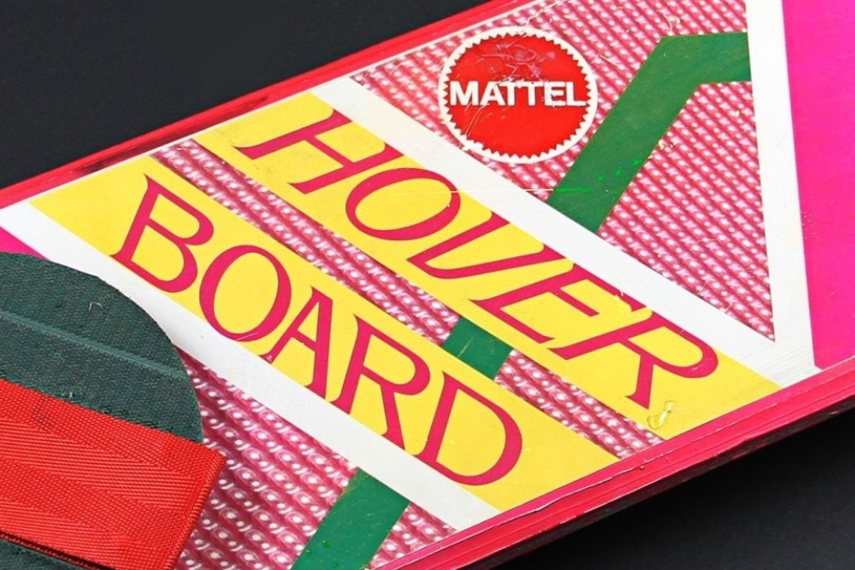 <p><strong>Figure 1.1</strong> Thanks to the 2014 auction listing, we get a clear look at the actual Hoverboard product logotype, as it appeared on the prop from the film. Source: <em>PropStore.com</em></p>