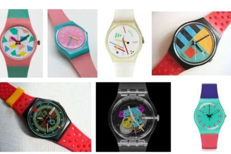 <p><strong>Figure 2.2</strong> An assortment of Swatch watch designs from the 1980s — the brand that inspired the graphics on the Hoverboard deck. Source: <em>Google Image Search</em></p>