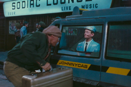 <p><strong>Figure 1.2</strong> The Johnnycab logotype, seen on the door of the taxi as Quaid makes the terrible choice of using it as a getaway vehicle.</p>