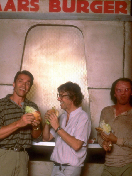 <p><strong>Figure 1.3</strong> Another behind the scenes shot, that affords us a better look at some of the characters in the Mars Burger logotype. The R and G especially, give good indication that this is Block Schwer. Source: Unknown</p>