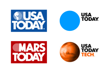 <p><strong>Figure 2.1</strong> Left: The <em>USA Today</em> logo as it appeared in 1990 and the fictional <em>MARS Today</em> logo from the 1990 film <em>Total Recall</em>. Right: The current <em>USA Today</em> logo and a TECH variant featuring the planet Mars, both from the redesign that went into effect in 2012. </p>