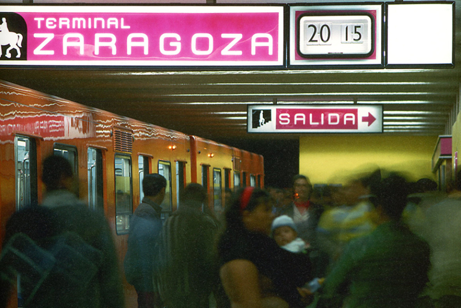 <p><strong>Figure 3.2</strong> The Mexico City Metro where <em>Total Recall's</em> Metro scenes were shot, in its original colors with wayfinding signage designed by Lance Wyman. Source: <em>Lance Wyman: The Monograph</em></p>