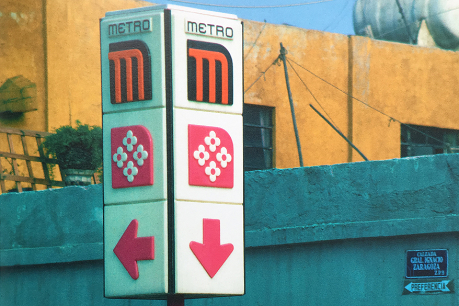 <p><strong>Figure 3.4</strong> Colorful signage featuring Mexico City's Metro logo and wayfinding icons—parts of a comprehensive identity system designed by Lance Wyman. Source: <em>Lance Wyman: The Monograph</em></p>