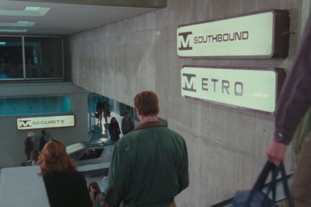 <p><strong>Figure 1.1</strong> Metro wayfinding signage seen as Quaid descends stairs.</p>