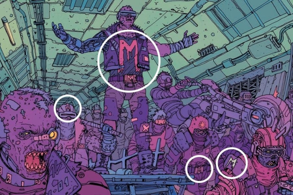 "<p><strong>Figure 2.1</strong> The Mutants paint the ""M"" on shirts, helmets and body armor. Some wear an ""M"" on their belt buckles.</p>"