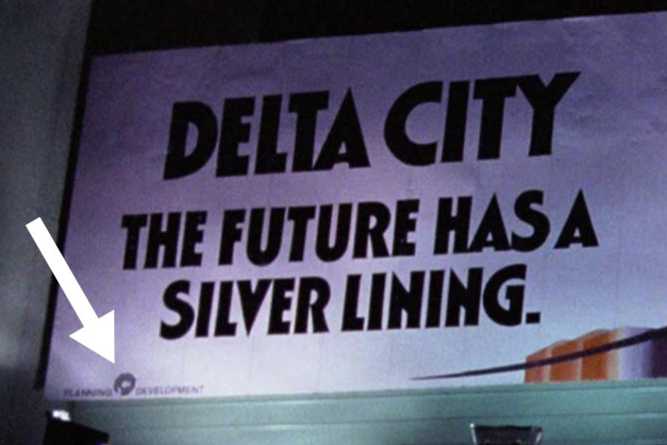 "<p><strong>Figure 3.10</strong> In the scene where two thugs are attacking a woman, we see a billboard for OCP's proposed Delta City. In the lower left corner, the OCP logo is locked up between the words ""PLANNING"" and ""DEVELOPMENT.""</p>"